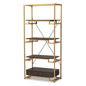 Baxton Studio Cerelia Modern and Contemporary Gold-Tone Steel and Dark Brown Finished Wood 3-Shelf Accent Bookcase with Drawer Baxton Studio-Shelving-Minimal And Modern - 1
