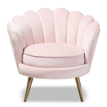 Baxton Studio Cosette Glam and Luxe Light Pink Velvet Fabric Upholstered Brushed Gold Finished Seashell Shaped Accent Chair Baxton Studio-chairs-Minimal And Modern - 1