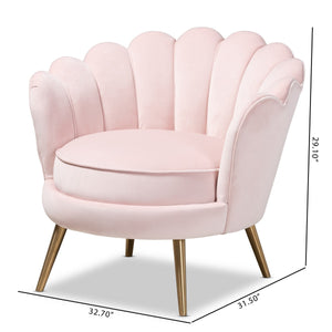 Baxton Studio Cosette Glam and Luxe Light Pink Velvet Fabric Upholstered Brushed Gold Finished Seashell Shaped Accent Chair