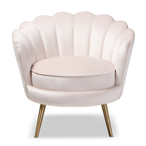 Baxton Studio Cosette Glam and Luxe Light Beige Velvet Fabric Upholstered Brushed Gold Finished Seashell Shaped Accent Chair Baxton Studio-chairs-Minimal And Modern - 1