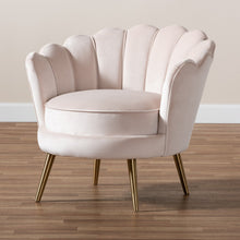 Baxton Studio Cosette Glam and Luxe Light Beige Velvet Fabric Upholstered Brushed Gold Finished Seashell Shaped Accent Chair
