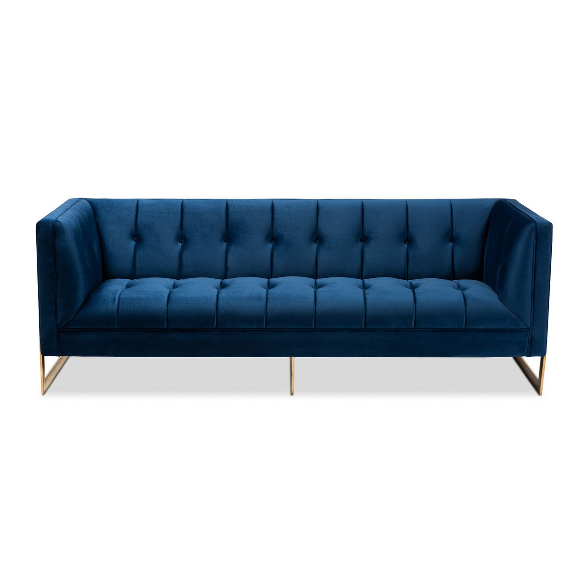 Baxton Studio Ambra Glam and Luxe Royal Blue Velvet Fabric Upholstered and Button Tufted Gold Sofa with Gold-Tone Frame Baxton Studio-sofas-Minimal And Modern - 1