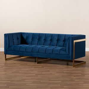 Baxton Studio Ambra Glam and Luxe Royal Blue Velvet Fabric Upholstered and Button Tufted Gold Sofa with Gold-Tone Frame