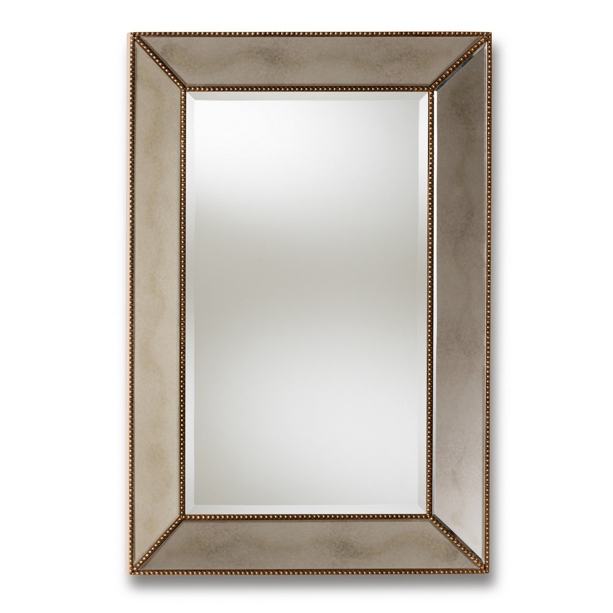 Baxton Studio Neva Modern and Contemporary Antique Gold Finished Rectangular Accent Wall Mirror Baxton Studio-mirrors-Minimal And Modern - 1