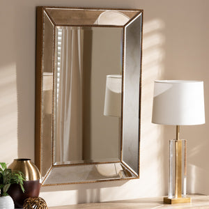 Baxton Studio Neva Modern and Contemporary Antique Gold Finished Rectangular Accent Wall Mirror