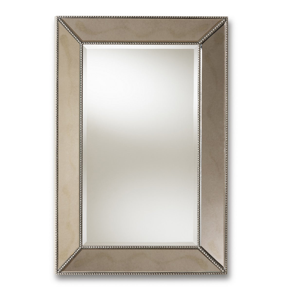 Baxton Studio Emelie Modern and Contemporary Antique Silver Finished Accent Wall Mirror Baxton Studio-mirrors-Minimal And Modern - 1
