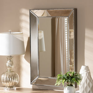 Baxton Studio Emelie Modern and Contemporary Antique Silver Finished Accent Wall Mirror