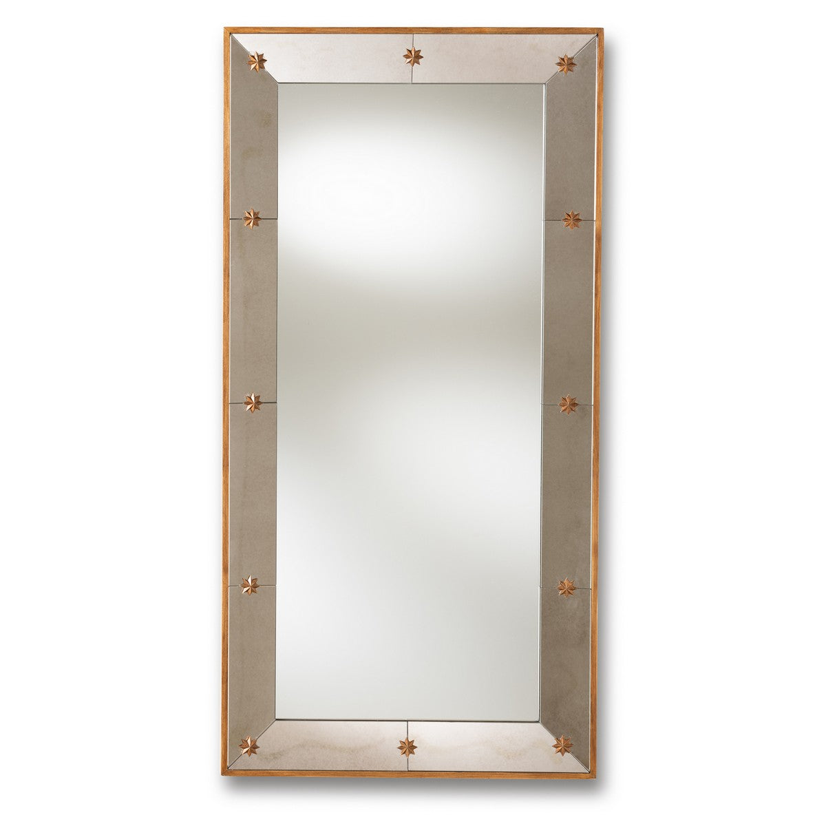 Baxton Studio Almira Modern and Contemporary Antique Gold Finished Rectangular Accent Wall Mirror Baxton Studio-mirrors-Minimal And Modern - 1