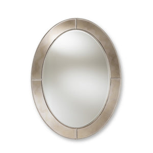 Baxton Studio Branca Modern and Contemporary Antique Silver Finished Oval Accent Wall Mirror Baxton Studio-mirrors-Minimal And Modern - 1