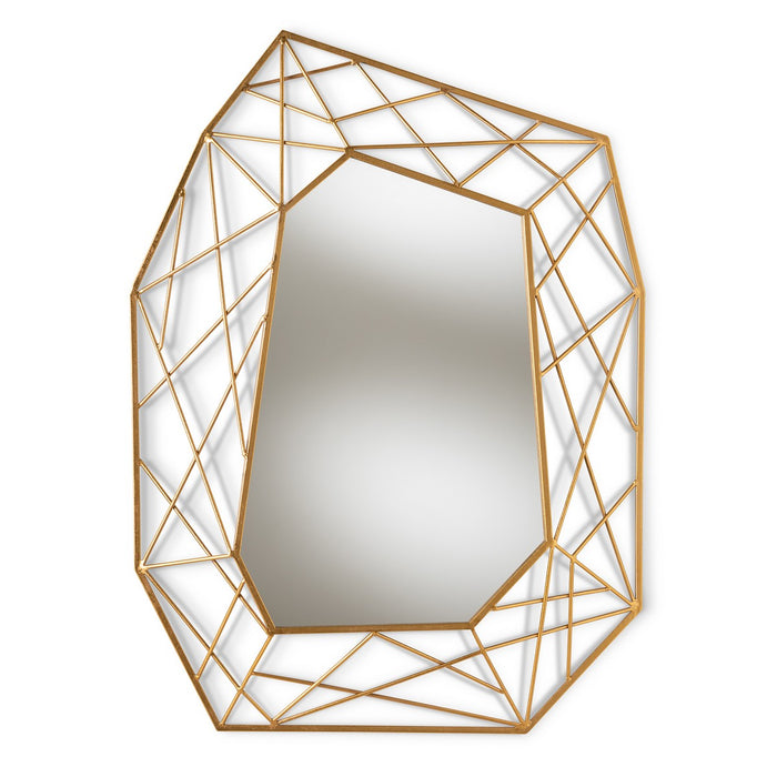 Baxton Studio Oriana Modern and Contemporary Antique Gold Finished Geometric Accent Wall Mirror Baxton Studio-mirrors-Minimal And Modern - 1
