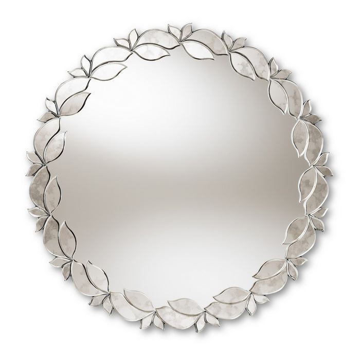 Baxton Studio Luiza Modern and Contemporary Silver Finished Round Petal Leaf Accent Wall Mirror Baxton Studio-mirrors-Minimal And Modern - 1