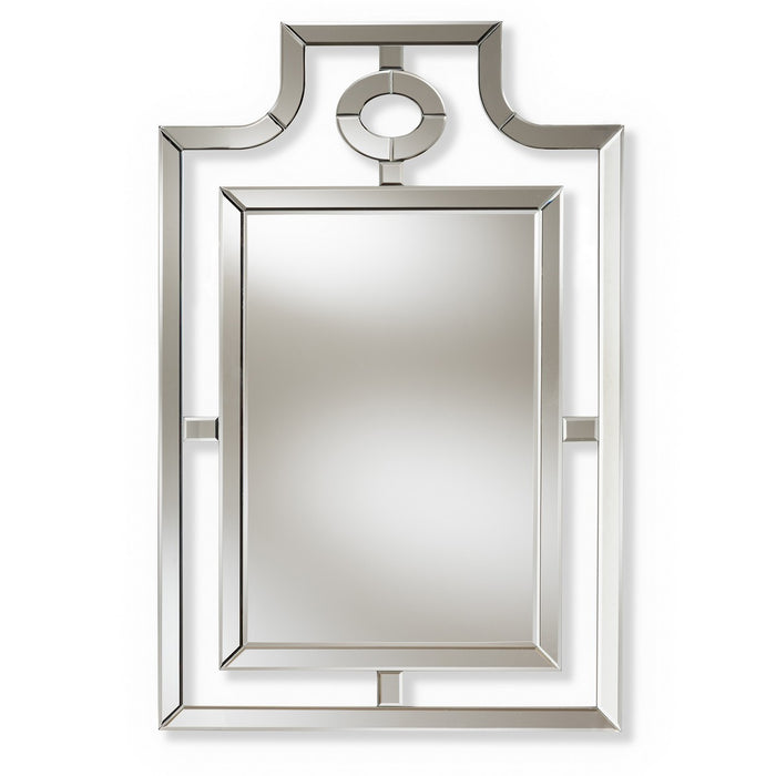 Baxton Studio Iria Modern and Contemporary Silver Finished Pagoda Wall Accent Mirror Baxton Studio-mirrors-Minimal And Modern - 1