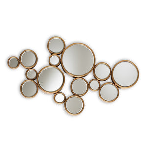 Baxton Studio Cassiopeia Modern and Contemporary Antique Gold Finished Bubble Accent Wall Mirror Baxton Studio-mirrors-Minimal And Modern - 1