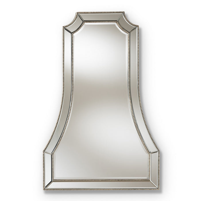 Baxton Studio Sanna Modern and Contemporary Antique Silver Finished Accent Wall Mirror Baxton Studio-mirrors-Minimal And Modern - 1