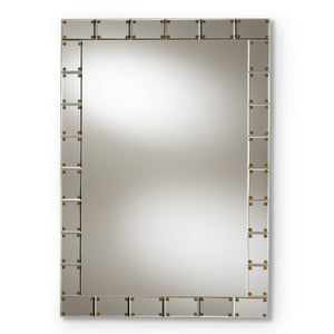 Baxton Studio Almeria Modern and Contemporary Silver Finished Rectangular Tile Accent Wall Mirror Baxton Studio-mirrors-Minimal And Modern - 1