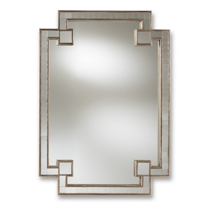 Baxton Studio Fiorella Modern and Contemporary Antique Silver Finished Studded Accent Wall Mirror Baxton Studio-mirrors-Minimal And Modern - 1