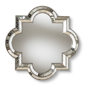 Baxton Studio Catia Art Deco Antique Silver Finished Quatrefoil Accent Wall Mirror Baxton Studio-mirrors-Minimal And Modern - 1
