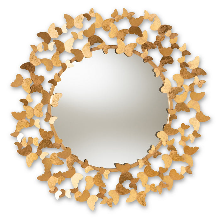 Baxton Studio Soleil Modern and Contemporary Antique Gold Finished Butterfly Accent Wall Mirror Baxton Studio-mirrors-Minimal And Modern - 1