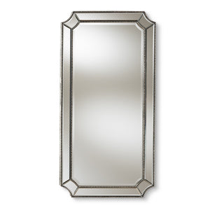 Baxton Studio Romina Art Deco Antique Silver Finished Accent Wall Mirror Baxton Studio-mirrors-Minimal And Modern - 1