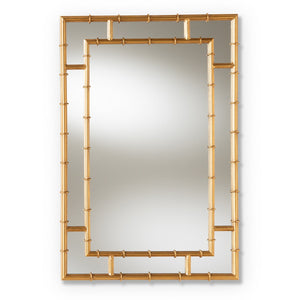 Baxton Studio Adra Modern and Contemporary Gold Finished Bamboo Accent Wall Mirror Baxton Studio-mirrors-Minimal And Modern - 1