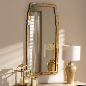 Baxton Studio Alice Modern and Contemporary Queen Anne Style Antique Gold Finished Accent Wall Mirror