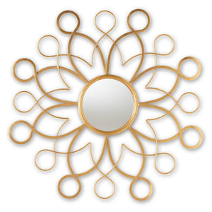 Baxton Studio Cymbeline Modern and Contemporary Antique Gold Finished Round Accent Wall Mirror Baxton Studio-mirrors-Minimal And Modern - 1