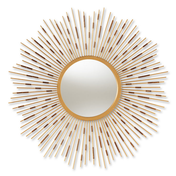 Baxton Studio Apollonia Modern and Contemporary Gold Finished Sunburst Accent Wall Mirror Baxton Studio-mirrors-Minimal And Modern - 1