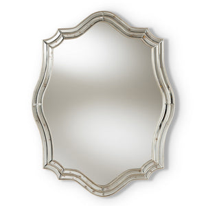 Baxton Studio Isidora Art Deco Antique Silver Finished Accent Wall Mirror Baxton Studio-mirrors-Minimal And Modern - 1