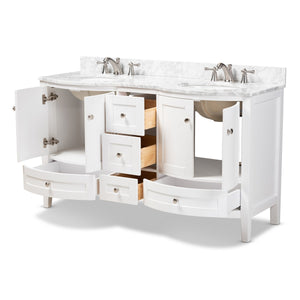 Baxton Studio Nicole 60-Inch Transitional White Finished Wood and Marble Double Sink Bathroom Vanity