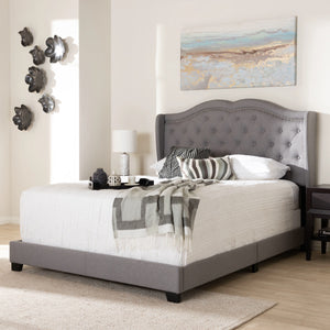 Baxton Studio Aden Modern and Contemporary Grey Fabric Upholstered Queen Size Bed Baxton Studio-0-Minimal And Modern - 7