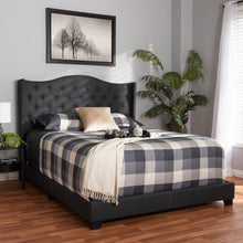 Baxton Studio Alesha Modern and Contemporary Charcoal Grey Fabric Upholstered King Size Bed Baxton Studio-0-Minimal And Modern - 7