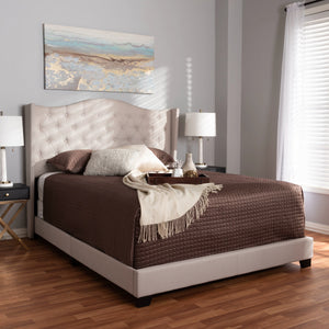 Baxton Studio Alesha Modern and Contemporary Beige Fabric Upholstered Full Size Bed Baxton Studio-0-Minimal And Modern - 7