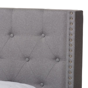 Baxton Studio Brady Modern and Contemporary Light Grey Fabric Upholstered Queen Size Bed Baxton Studio-0-Minimal And Modern - 5