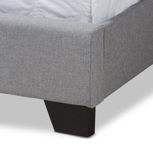Baxton Studio Brady Modern and Contemporary Light Grey Fabric Upholstered Queen Size Bed Baxton Studio-0-Minimal And Modern - 6