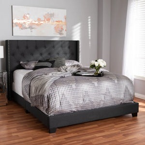 Baxton Studio Brady Modern and Contemporary Charcoal Grey Fabric Upholstered King Size Bed Baxton Studio-0-Minimal And Modern - 6