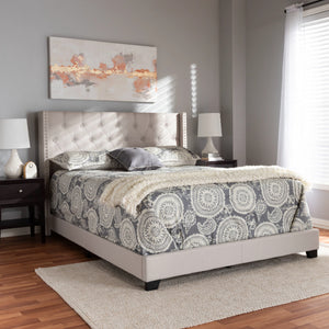 Baxton Studio Brady Modern and Contemporary Beige Fabric Upholstered King Size Bed Baxton Studio-0-Minimal And Modern - 7