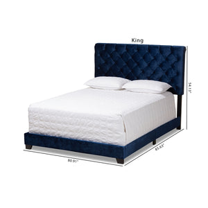 Baxton Studio Candace Luxe and Glamour Navy Velvet Upholstered King Size Bed Baxton Studio-0-Minimal And Modern - 2