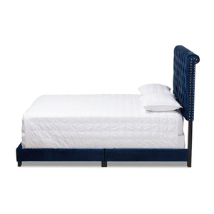 Baxton Studio Candace Luxe and Glamour Navy Velvet Upholstered Full Size Bed Baxton Studio-0-Minimal And Modern - 3