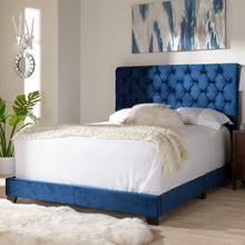 Baxton Studio Candace Luxe and Glamour Navy Velvet Upholstered King Size Bed Baxton Studio-0-Minimal And Modern - 7