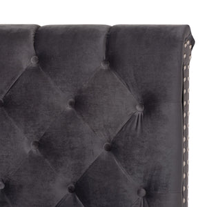 Baxton Studio Candace Luxe and Glamour Dark Grey Velvet Upholstered Full Size Bed Baxton Studio-0-Minimal And Modern - 5
