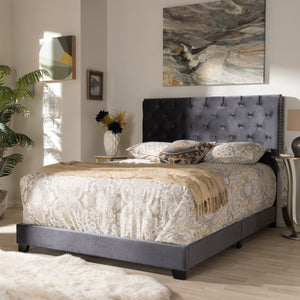Baxton Studio Candace Luxe and Glamour Dark Grey Velvet Upholstered King Size Bed Baxton Studio-0-Minimal And Modern - 7