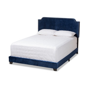 Baxton Studio Darcy Luxe and Glamour Navy Velvet Upholstered Queen Size Bed Baxton Studio-0-Minimal And Modern - 1