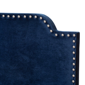 Baxton Studio Darcy Luxe and Glamour Navy Velvet Upholstered King Size Bed Baxton Studio-0-Minimal And Modern - 5