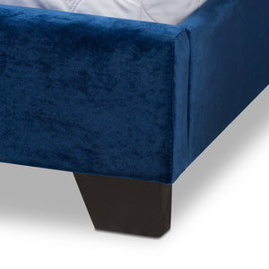 Baxton Studio Darcy Luxe and Glamour Navy Velvet Upholstered King Size Bed Baxton Studio-0-Minimal And Modern - 6