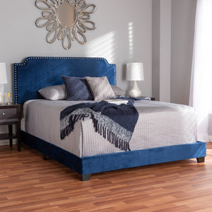 Baxton Studio Darcy Luxe and Glamour Navy Velvet Upholstered Queen Size Bed Baxton Studio-0-Minimal And Modern - 7