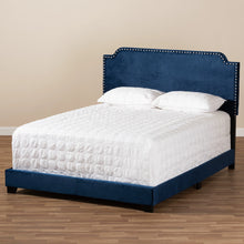 Baxton Studio Darcy Luxe and Glamour Navy Velvet Upholstered Queen Size Bed Baxton Studio-0-Minimal And Modern - 8