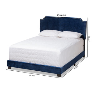 Baxton Studio Darcy Luxe and Glamour Navy Velvet Upholstered Queen Size Bed Baxton Studio-0-Minimal And Modern - 10