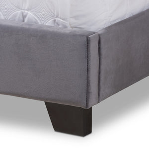 Baxton Studio Darcy Luxe and Glamour Dark Grey Velvet Upholstered Full Size Bed Baxton Studio-0-Minimal And Modern - 6