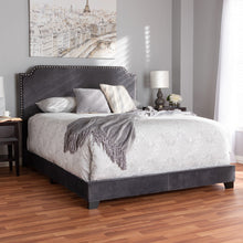 Baxton Studio Darcy Luxe and Glamour Dark Grey Velvet Upholstered Full Size Bed Baxton Studio-0-Minimal And Modern - 7