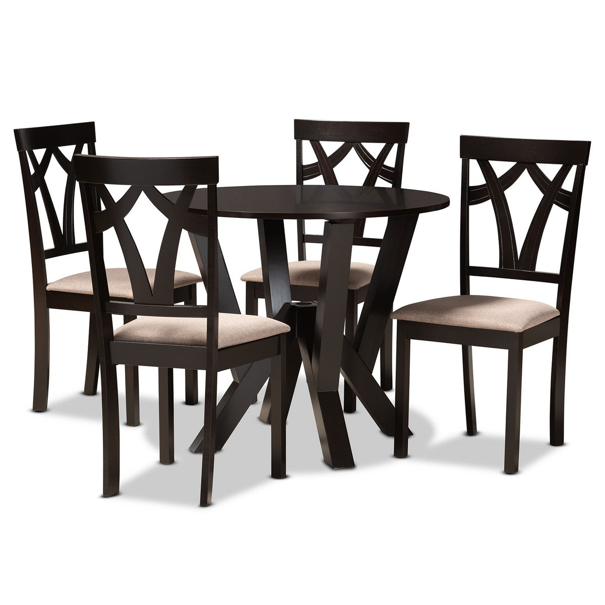 Baxton Studio Reagan Modern and Contemporary Sand Fabric Upholstered and Dark Brown Finished Wood 5-Piece Dining Set Baxton Studio-Dining Sets-Minimal And Modern - 1